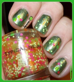 Faith in Manicures Tropical Neon  http://www.jennafroggy.com/2013/05/neon-glitter-fun.html