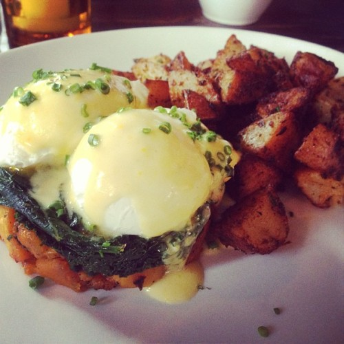 Happy Sunday - brunch at @boultonandwatt. Poached eggs with kale a butternut squash, hollandaise & home fries. #brunch #eastvillage #food #yum