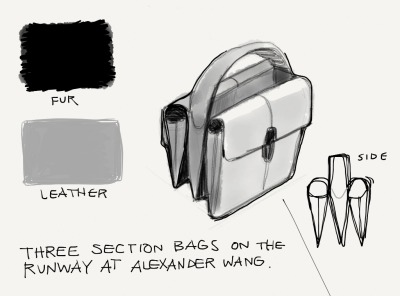 Three-section bags hit the runway at Alexander Wang's Fall/Winter 2013 Runway Show, part of New York Fashion Week. Join Women's Wear Daily and FiftyThree online as we live sketch New York Fashion Week.