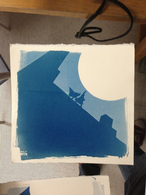 Batman cyanotype photogram! ps this was made with the negative of that paper cutout from yesterday.