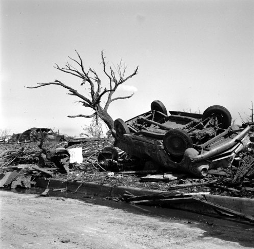 Pictures from another awful Oklahoma tornado, this one in May 1955.