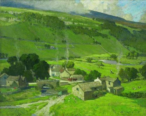 Bertram Priestman's The Hill-Bound Village, 1917 (via BBC - Your Paintings)