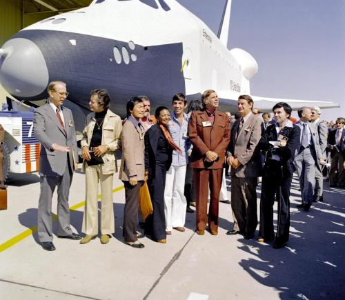 ursulasteinberg: inothernews:  Gene Roddenberry and most of the original crew from the U.S.S. Enterprise pay a visit to the newly-christened space shuttle named after the famous starship in 1976.   I've seen that ship!!