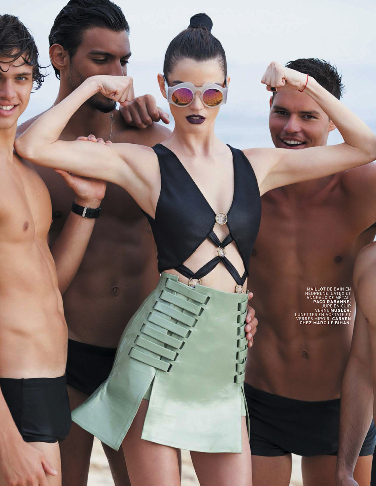 """""""Physical""""L'Officiel Paris,May 2013Jeisa Chiminazzo by Michael Robertsstyling by Monica Pilosio; Carven sunglasses, Paco Rabanne swimsuit, Mugler skirt"""