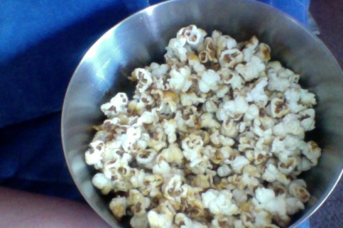 We made caramel popcorn!  It is very tasty, if still painfully hot.