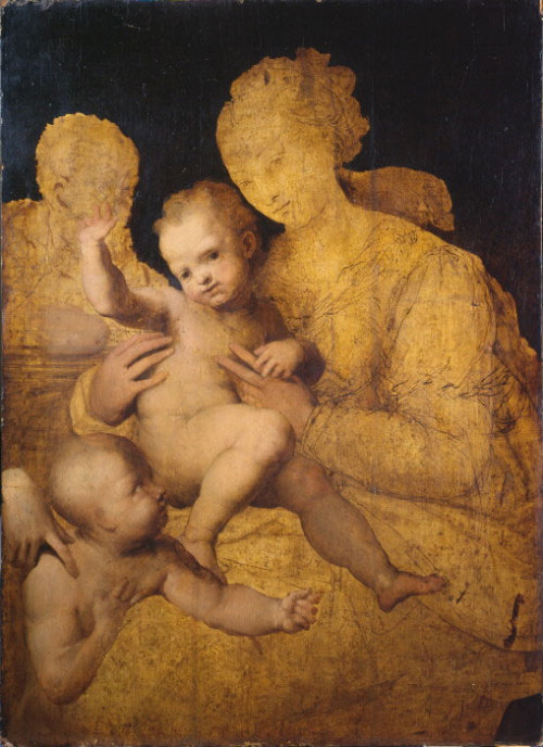 The Holy Family with St. John The Baptist, unfinished; by Perino del Vaga