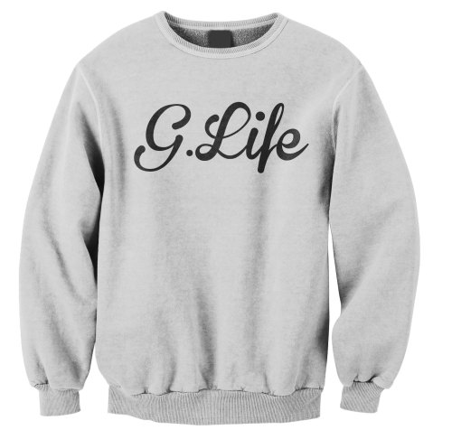 Check out the G.Life cursive crewneck http://shopgmp.com/shop/crewneck-sweater/g-life-cursive-crewneck/