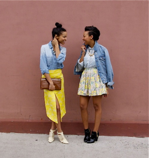 kendaatlarge:  girls off fifth: perfect pairing : jacquard & denim