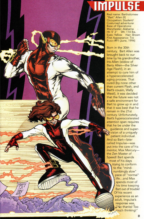 why-i-love-comics:  Impulse info page  written by Todd Dezagoart by Matthew Clark & Ray Snyder