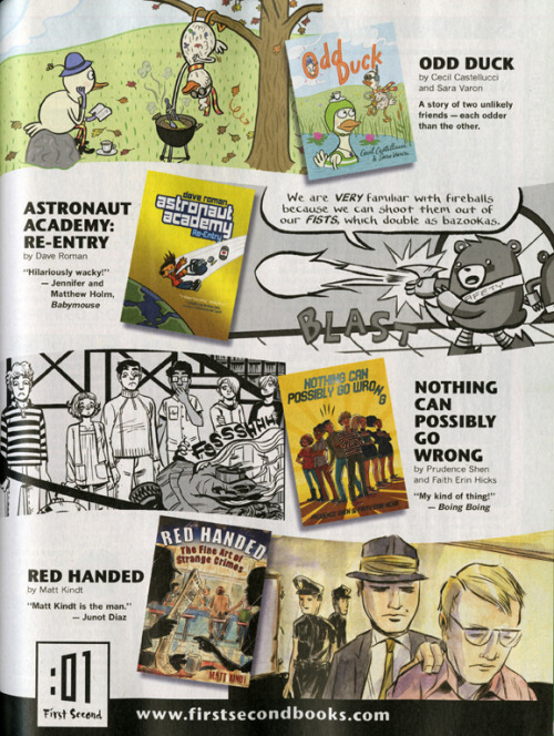 astronautacademy:  First Second Books for May 2013 Love this ad for all the great graphic novels coming out very soon from :01 First Second!