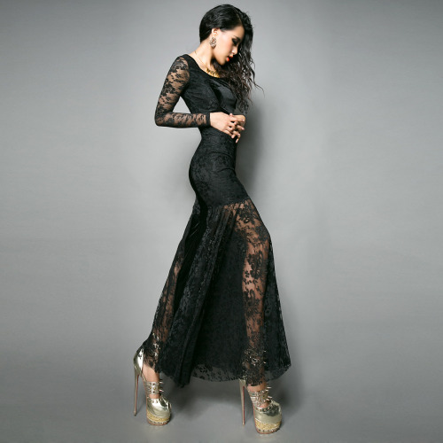 35-24-35:  Retro Black Velvet Lace Women's Ankle Length Dress