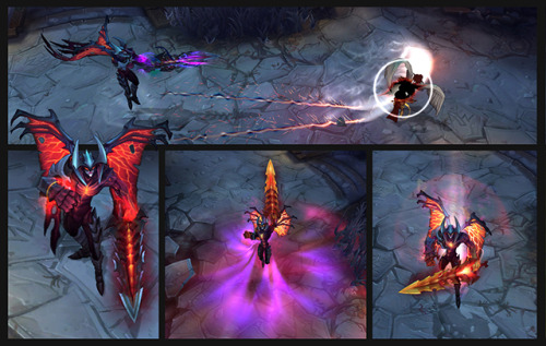 Aatrox, the Darkin Blade, revealed   Abilities  Blood Well (Passive) Aatrox stores a portion of his abilities' health cost in the Blood Well, which slowly drains to a base amount while he is out of combat. When Aatrox loses all of his health, he draws on the Blood Well and recovers the amount of health stored.   Dark Flight Aatrox rises into the air and slams into a target location. Enemies within the impact zone are knocked up and take damage, while nearby enemies take damage.   Blood Thirst Aatrox heals himself on every third attack. Activating Blood Thirst toggles Blood Price. Blood Price: Every third attack now deals bonus damage instead of healing Aatrox. Aatrox loses health based on the bonus damage dealt.   Blades of Torment Aatrox fires a line attack that damages and slows enemies caught in its path. Aatrox is refunded a part of the health cost if Blades of Torment strikes an enemy champion.   Massacre Upon activation, Aatrox instantly damages enemies in an area around him. For the duration of Massacre, Aatrox gains bonus attack speed and range. Massacre has no health cost.