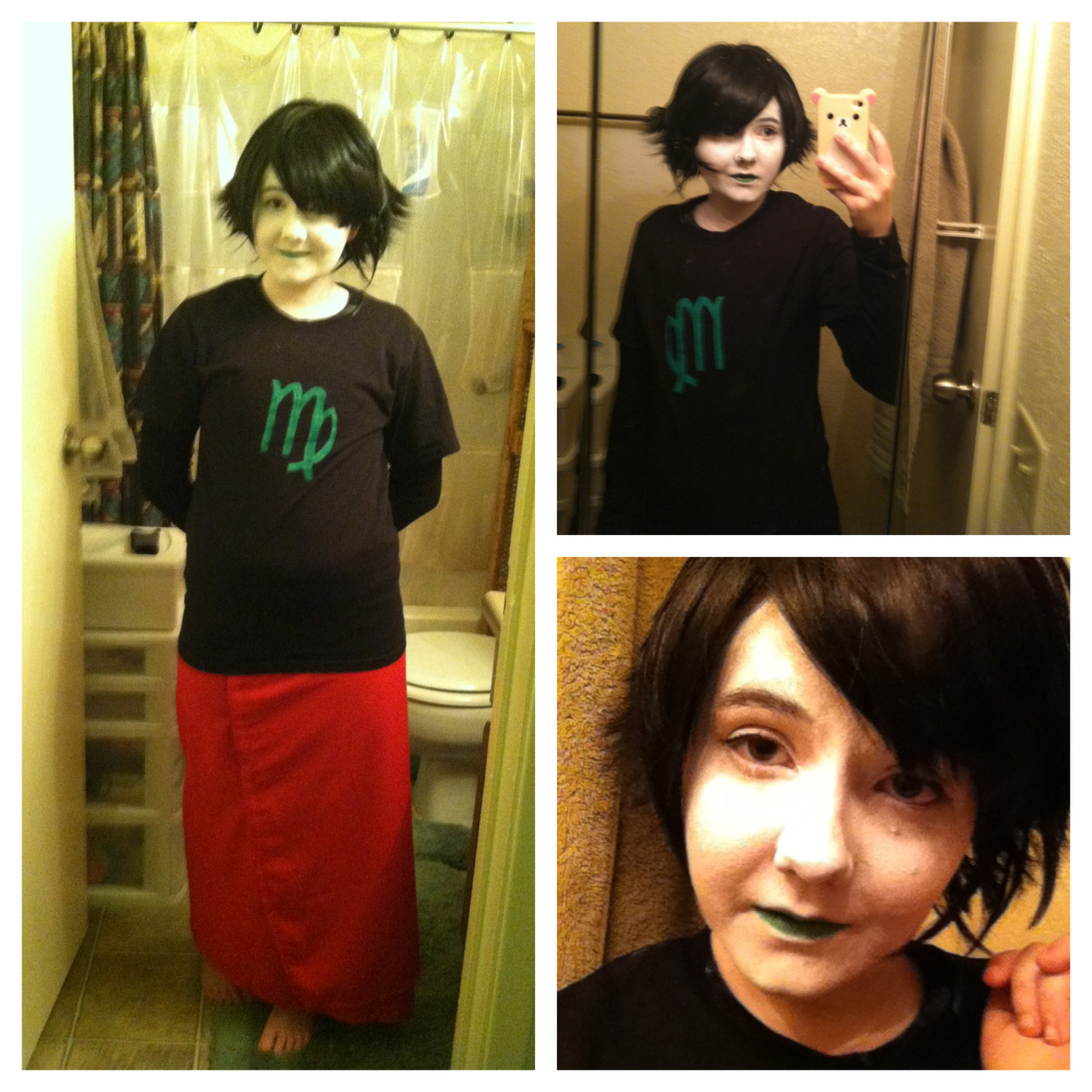 aaaaa  awkward faces the photoset  i need to finish the skirt, get some horns, and ame needs to style my wig. i also need to learn how 2 eyeliner
