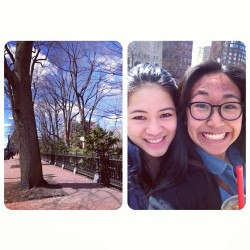Exploring Boston and spending some quality time with the pseudo twin, @laineyonme #loveher #perfectday #mostbeautifuldayinbostonever #boston #springishere 😊☀🌼🌳 (at Newbury Street)