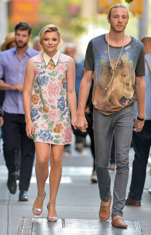 Chloe Moretz (in Miu Miu) with her brother @ 'If I Stay' New York Premiere