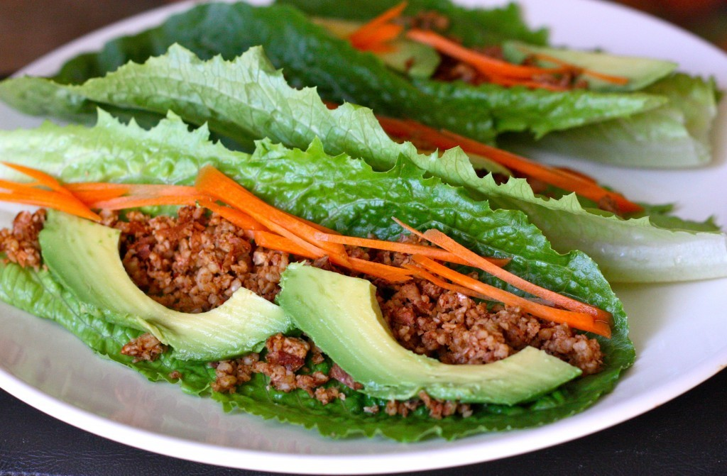 Walnut Almond Lettuce Wraps:  This wrap's filling – a surprising combination of almonds and walnuts seasoned with savory cumin, garlic powder, cayenne pepper and coriander – literally explodes with flavor. Creamy avocados and sweet, crunchy carrot sticks add a delicious contrast. This recipe comes to us from Christy Morgan, who writes the blog The Blissful Chef.