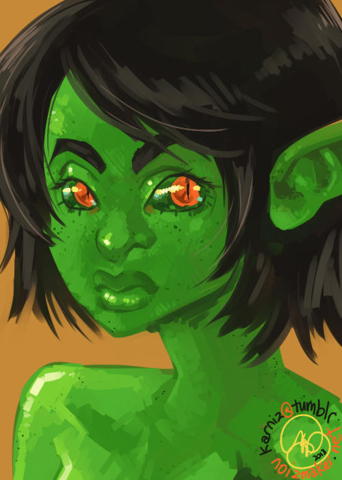 Original: Here, have a cute goblin girl with freckles. One layer, one brush… I love challenging myself. ♥