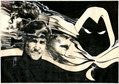 Original double-page pin-up art by Bill Sienkiewicz from Moon Knight Special Edition #1, published by Marvel, November 1983.