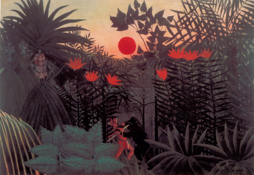 Henri Rousseau American Indian Struggling with a Gorilla 1910 Oil on canvas. In my most recent project which is called the Garden at Night, I have decided to look at the work of Henri Rousseau and his amazing tropical jungle paintings. I hope to create a mysterious otherworldly feel to my designs.