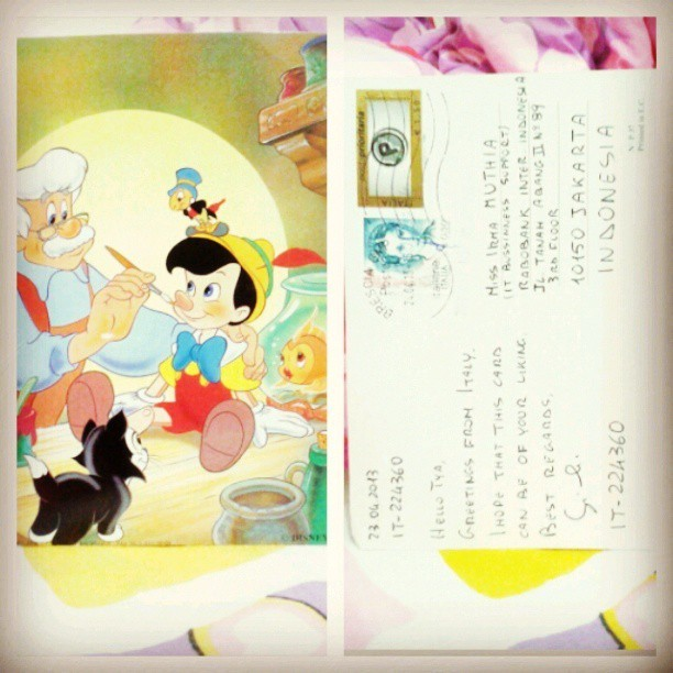 My sweet for today #postcard from #italy. And its a #disney postcard, #pinnochio. Love love love! Happy #postcrossing