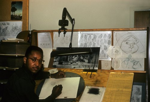collectivehistory:  Floyd Norman, the first black artist at Disney, animating on Sleeping Beauty, 1958  wait did he animate the fairies because hats off to this guy