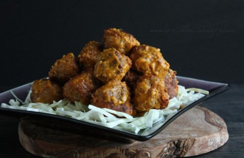 smilestones:  bbq meatballs  yields 16 meatballs, serving size 4 meatballs Ingredients For the meatballs 1 lb. ground pork 1 tsp granulated sugar substitute (honey for Paleo) 1 tsp paprika (smoked if you have it) 1/2 tsp salt 1/4 tsp black pepper 1/4 tsp cayenne pepper 1/2 tsp ground cumin 1/4 tsp celery salt 1 egg 1/4 cup almond flour 1 Tbsp water For the BBQ sauce 1/4 cup yellow mustard 2 tsp Frank's Hot Sauce 1 Tbsp dried onion flakes 3 Tbsp granulated sugar substitute (honey for Paleo) 2 Tbsp apple cider vinegar 2 Tbsp low sugar ketchup salt and pepper to taste  Instructions Start the sauce first so the flavors have time to develop while you are making the meatballs. For the sauce Combine all ingredients in a small saucepan, stirring until smooth. Simmer on low heat for about 8 minutes. For the meatballs Combine all of the meatball ingredients in a medium bowl and mix thoroughly. Form into 16 meatballs. In a large, nonstick saute pan, fry the meatballs over medium heat until golden on all sides and cooked through. About 3 – 4 minutes per side. Toss the meatballs gently in the sauce, then spread on a parchment lined baking sheet and broil (carefully!!) for 2 – 3 minutes. Serve with low carb cole slaw for the authentic BBQ experience! Notes  Approximate nutrition info per meatball: 92 calories, 7g fat, 1g net carbs, 6g protein