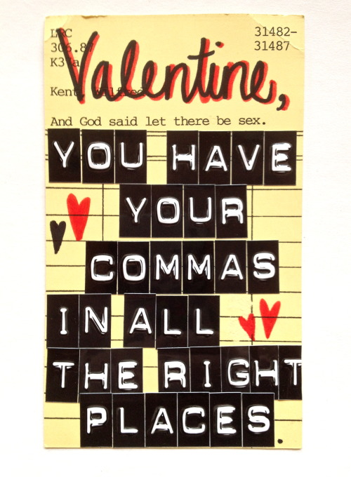 Woo your Valentine with a cheeky library pick-up line.Made using vintage library check out cards.Set includes 8 different valentines. I was temporarily sold out but I have added another set with this beauty. Available in my Etsy shop.