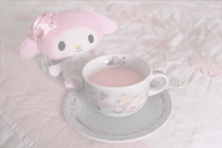 cute kawaii pink pastel my photography sanrio tea cup pale strawberry milk my melody soft colors