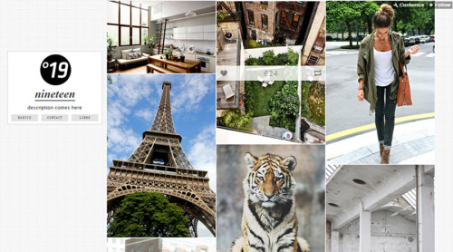 Theme N°19 - A Stylish 3 column theme with spectacular photo permalinks, a large sidebar and an optional blog title and sidebar image. Theme number 19 will surely improve your blog aesthetics and enhance your blogs feel. http://themesbyjames.com/nineteen/