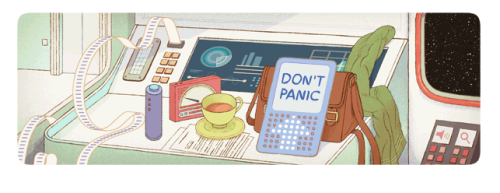 "Douglas Adams Google Doodle.  ""Douglas Adams – one of the most celebrated and beloved humorists of the 20th century – had an imagination that defied gravity and soared past Earth's atmosphere. As a young man, he famously got the first inkling of an idea for The Hitchhiker's Guide to the Galaxy while hitchhiking across Europe, pausing to contemplate the starry night sky...""Douglas Adams has entertained and inspired so many generations of people around the world with his warm humor and courageously curious intellect. Happy birthday, you hoopy frood!"""