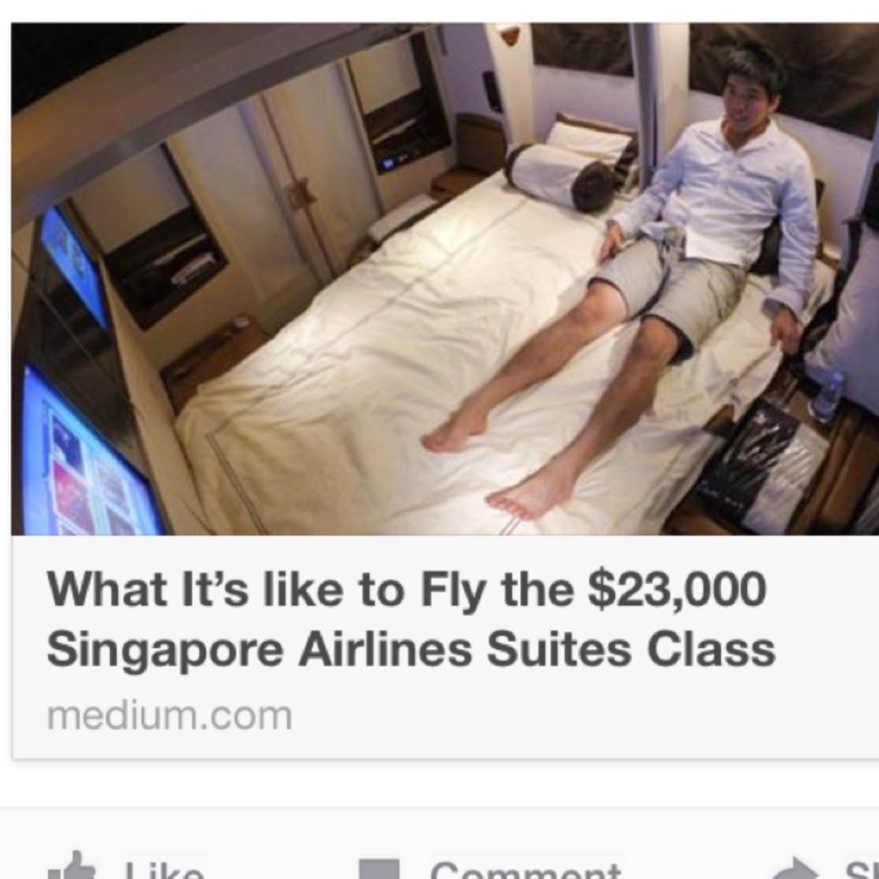 https://medium.com/travel-adventure/what-its-like-to-fly-the-23-000-singapore-airlines-suites-class-17d9f3fee0d  I would so do this… Anyone else coming?? with Bill, Ulli, Peter, Dan, Hugo💋, Scott, Alberto, John, Roy, and  El Oysito  – View on Path.