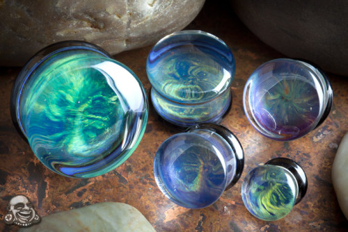 Pyrex glass planet plugs (Andromeda) by Glasswear Studioshttp://www.bodyartforms.com/productdetails.asp?ProductID=3225