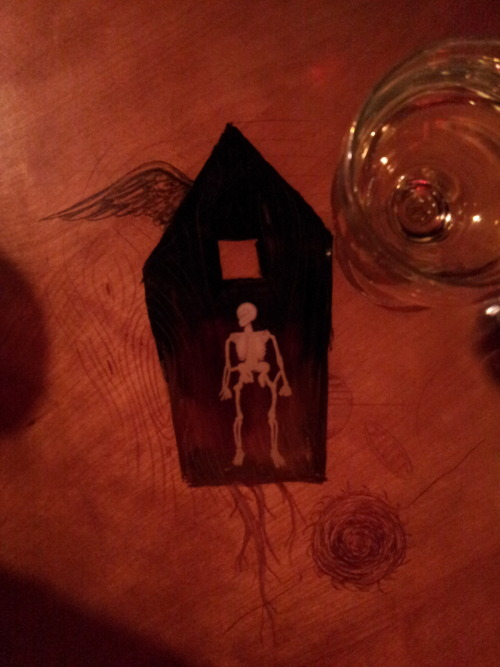 skeleton bones and painting under resin table top, American Dream Pizza bone a day    inkhead
