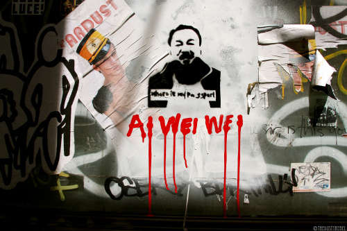 Where Is My Passport? Stencil graffiti featuring Ai Weiwei, a Chinese contemporary artist and outspoken human rights activist who was arrested by the Chinese authorities in 2011 and held for three months. Since his release, Weiwei is prohibited from traveling abroad, engaging in public speech, and is subjected to continued government surveillance. (Soho, NYC) More photos of Graffiti and Street Art.