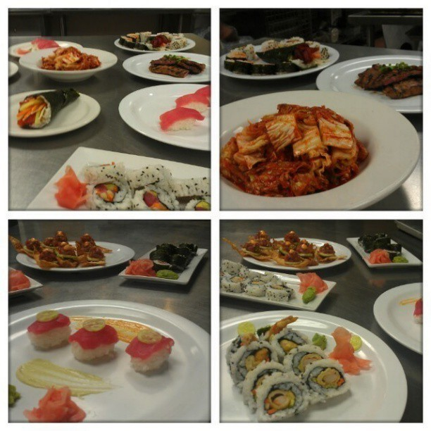 Korean & Japanese day! My group's creations…. #LCBDALLAS #lcb #sushi #kalbi #kimchi #Korean #Japanese  (at Le Cordon Bleu College of Culinary Arts)