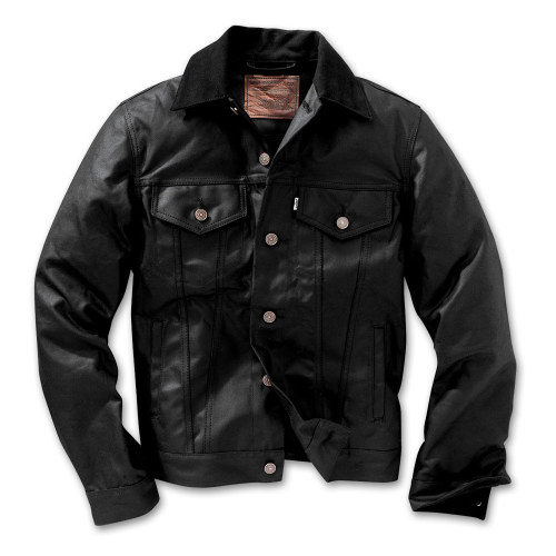 Filson X Levi's Oil Finish Trucker Jacket in Black. Want!