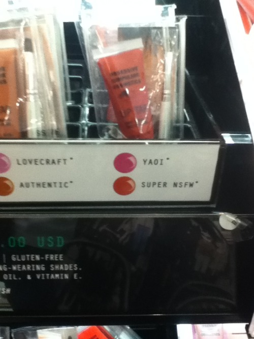kkalcollection:  miaou-mask:  I was in Sephora with my sister today and..  Finally a lipgloss made just for me.