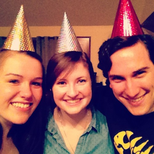 Leftover party hats! Waste not, want not.