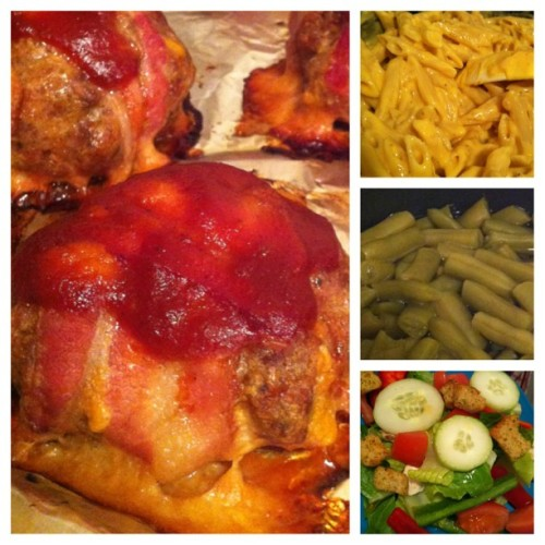 Dinner. Bacon wrapped meatloaf, homage Mac n cheese, home grown green beans and a side salad. Mmmmmm #dinner #meat #bacon #veggies #homemade #homegrown #salad
