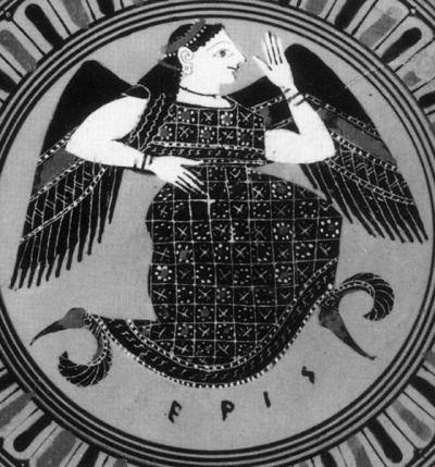 Greek tondo of the goddess Eris (artist unknown?, circa 575-525 BCE).   (via Wikipedia)