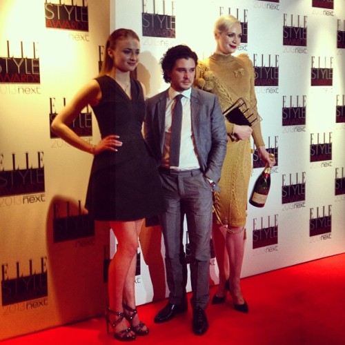 Sophie Turner, Gwendoline Christie and Kit Harington accept the Best TV Show award for Game of Thrones.