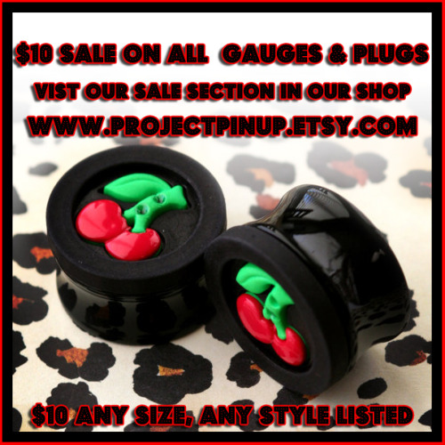 $10 Sale on ALL gauges & plugs in our etsy shop, along with many other items on sale now! https://www.etsy.com/shop/ProjectPinup/search?search_query=gauges&order=date_desc&view_type=gallery&ref=shop_search