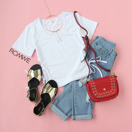 crop t-shirt white elegant outfit lace up ripped denim jeans