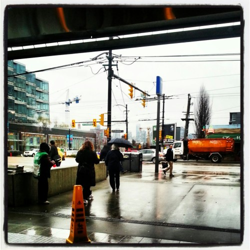 Seen around town: Another grey, sometimes deluge like day here in Vancouver. In this case, at the City Hall-Broadway subway station.