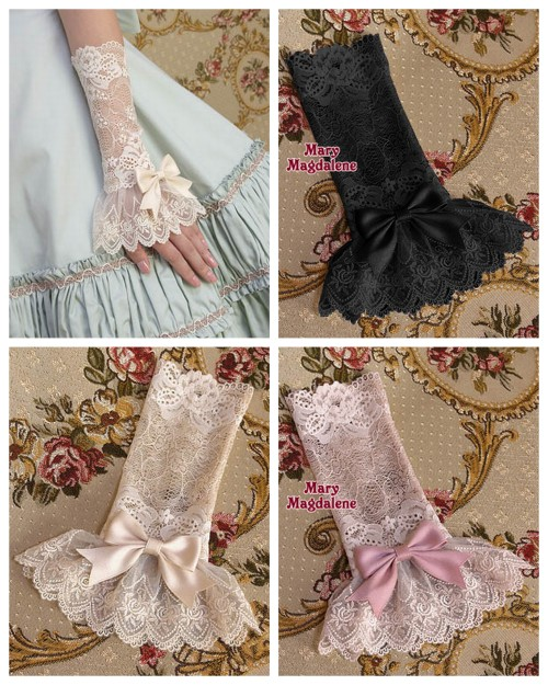 DIY Inspiration: Long Lace Bow Cuffs from Mary Magdalene here. They are sold out of all the cuffs except for the off white. These are made of stretch lace for the top part and then regular lace for the bottom. You could make these so cheaply because so little lace is needed.