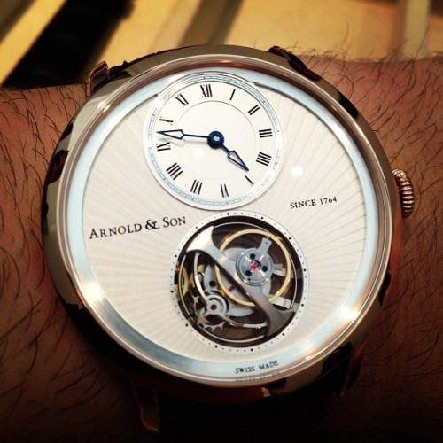 ablogtowatch:  Arnold & Son UTTE worlds thinnest Tourbillon #watch #baselworld2013 #instawatches #ablogtowatch #watchporn #tourbillon  (at Baselworld 2013)