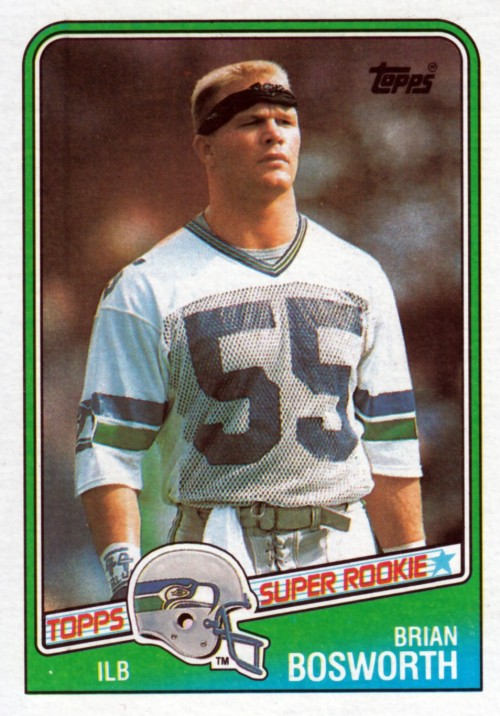 Random Football Card #160: Brian Bosworth, inside linebacker, Seattle Seahawks, 1988, Topps.