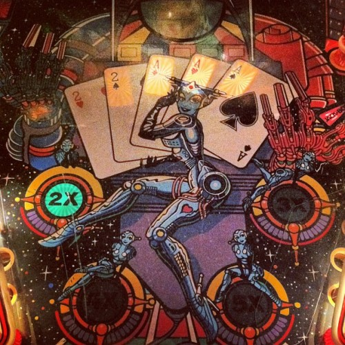 chrome playfield! Jackbot via Pins & Needles #DTLA #pinball #arcade