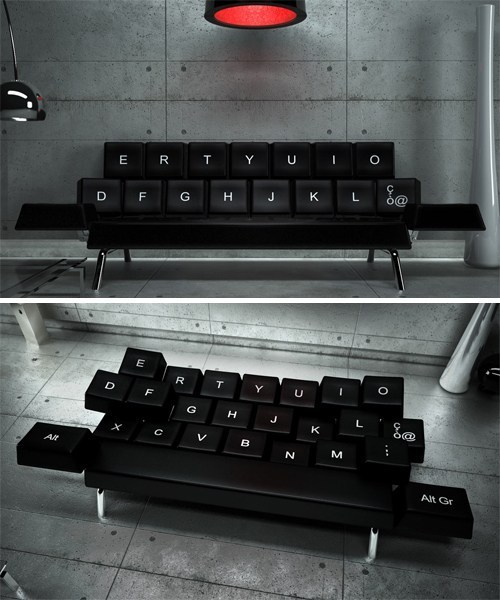 thedailywhat:  Shut Up and Take My Money of the Day: The QWERTY Sofa Italian design and architecture firm ZO_loft wants to reinvent the idea of falling asleep on your keyboard …by turning your couch into a keyboard! Additionally, each key tile contains remote-controlled micro electric motors that make all of them completely adjustable.