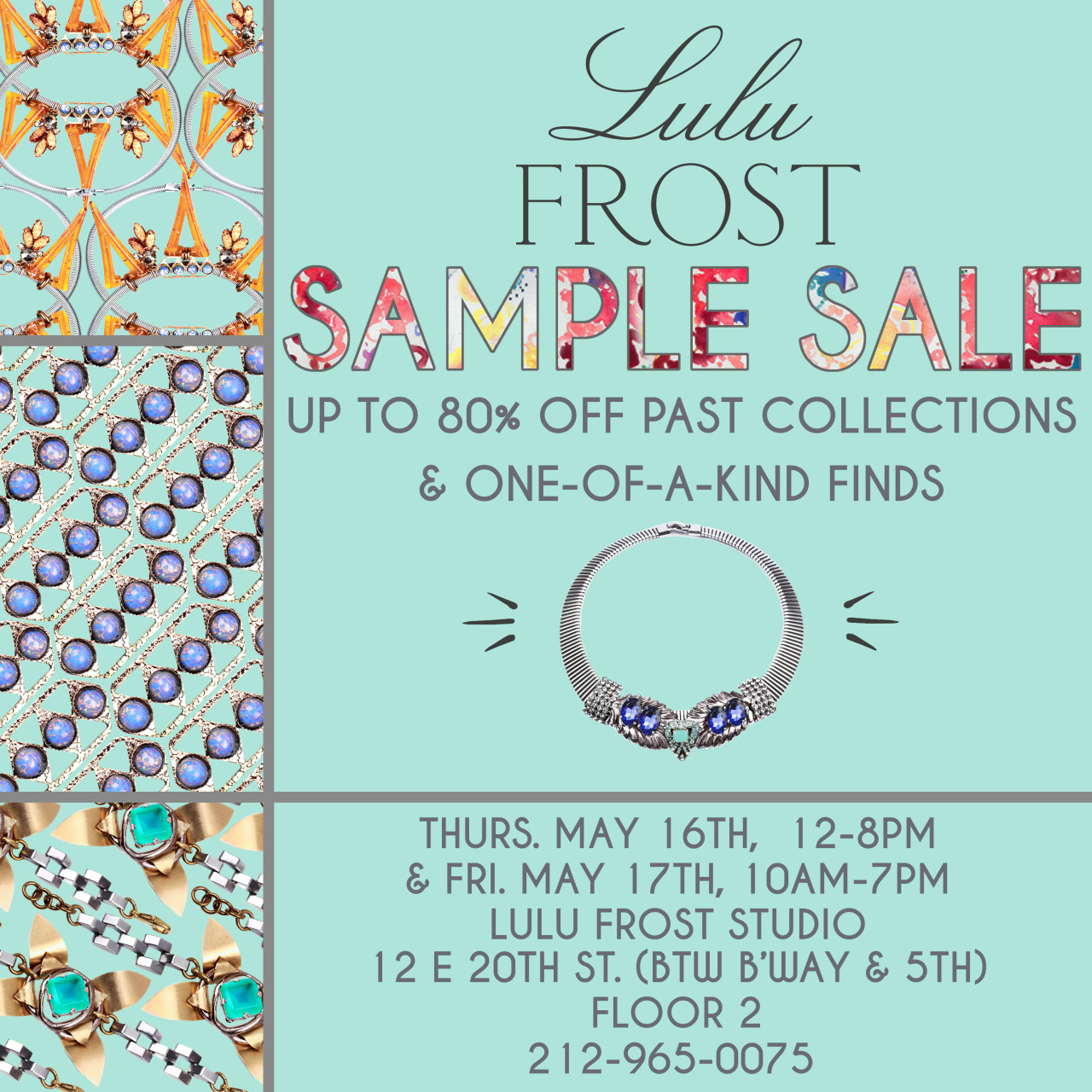 Another reminder… Sample sale starts this Thursday in our NYC studio!